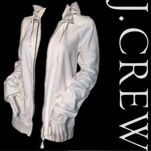 Euc white rumpled zip hoodie jcrew 100% cotton